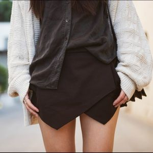 Zara Basic Wrap Skort in Black